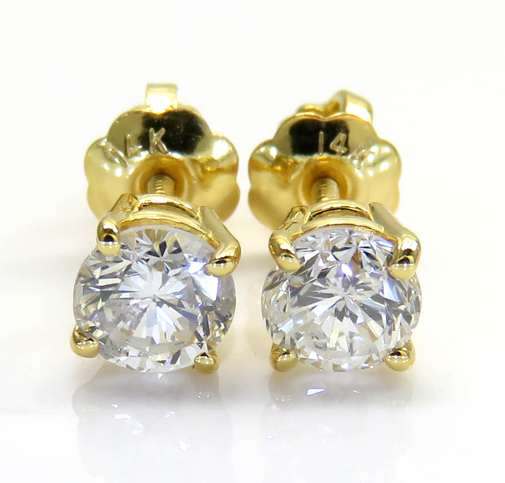 14k gold clean round cut 0.25 pointer diamond studs earrings 0.50ct