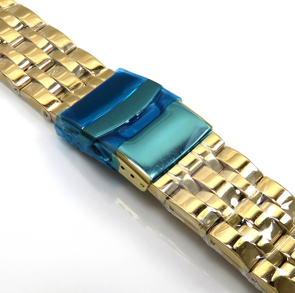 Mens yellow stainless steel joe rodeo 20mm watch band