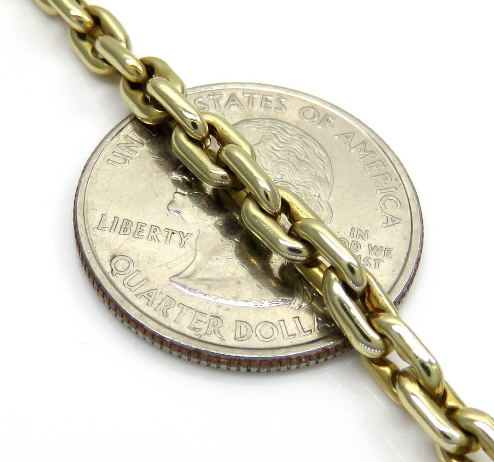 14k yellow gold braccio solid cable link chain 22-24 inches 4.30mm