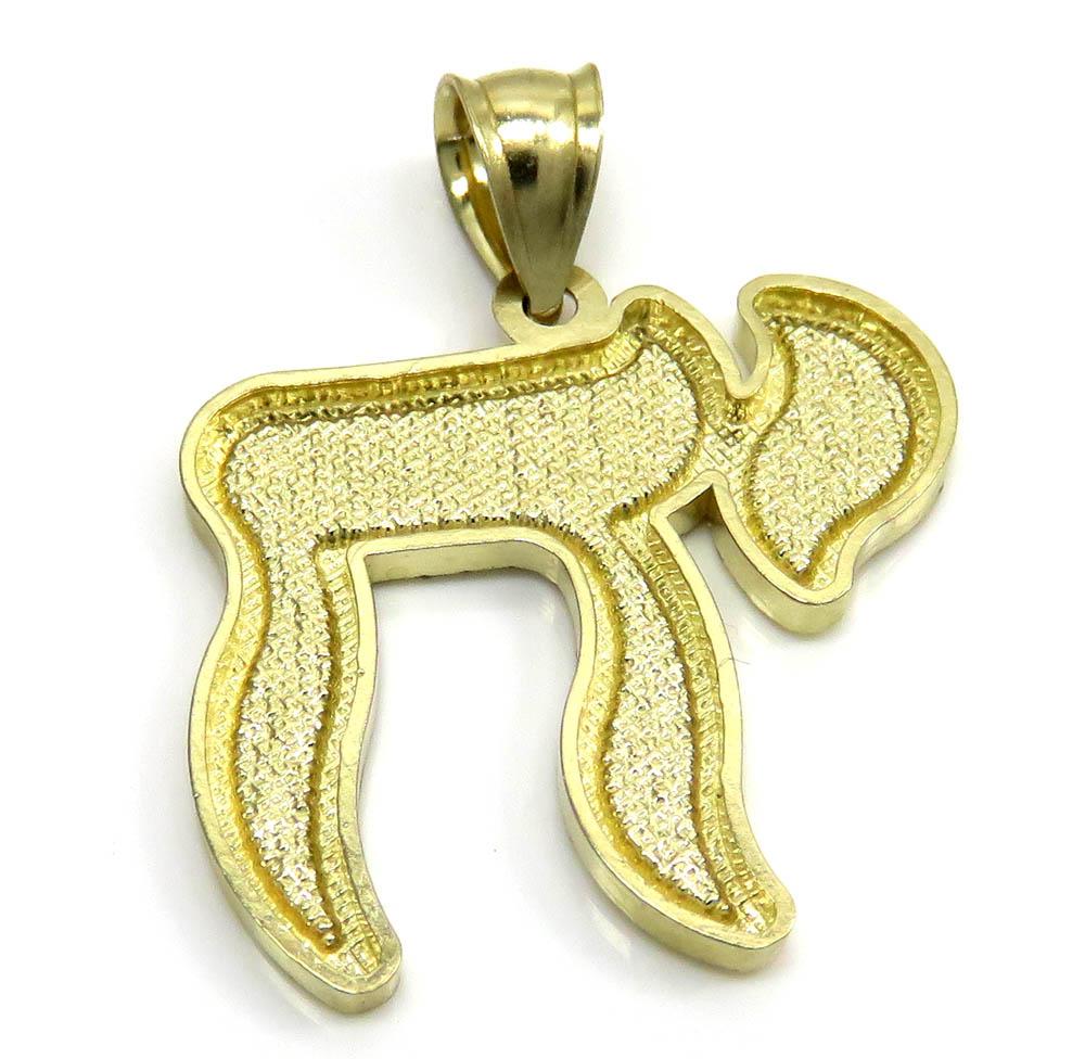 10k yellow gold diamond cut tree bark jewish chai pendant
