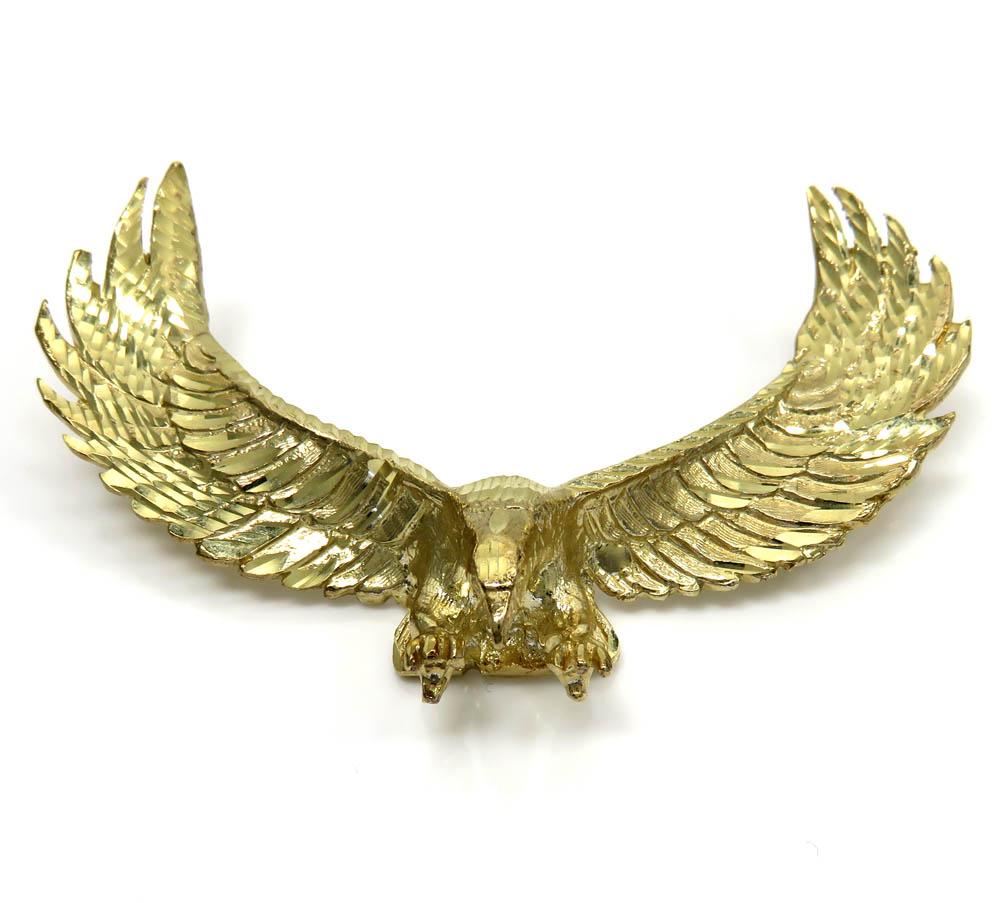 10k yellow gold large solid heavy diamond cut eagle pendant