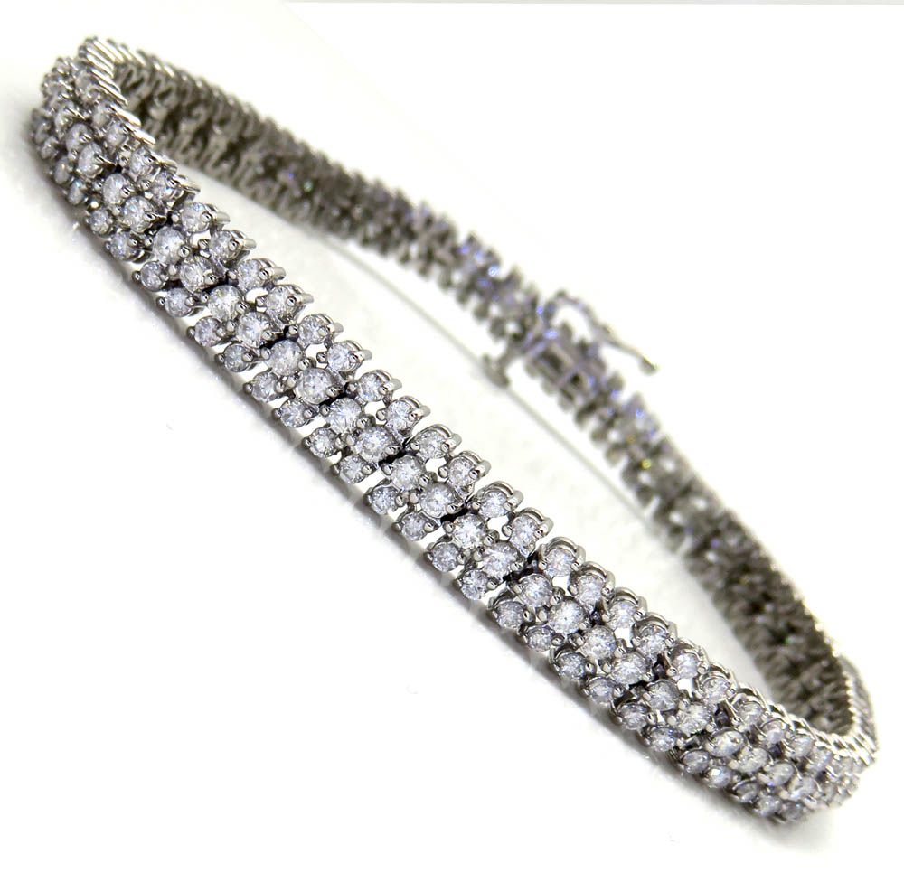 14k white gold 3 row diamond tennis bracelet inches 4. Black Bedroom Furniture Sets. Home Design Ideas