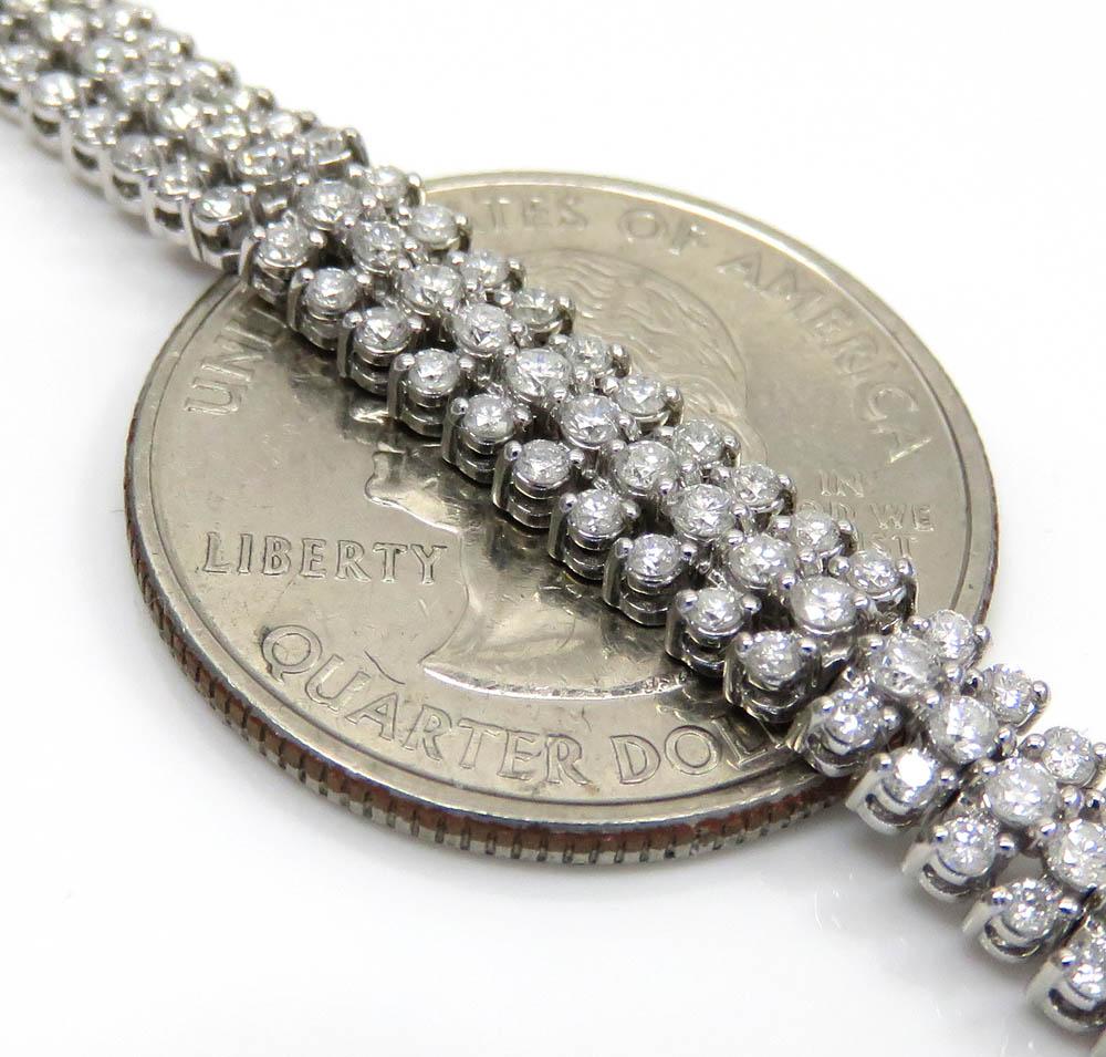 14k white gold 3 row diamond tennis bracelet 7.50 inches 4.00ct