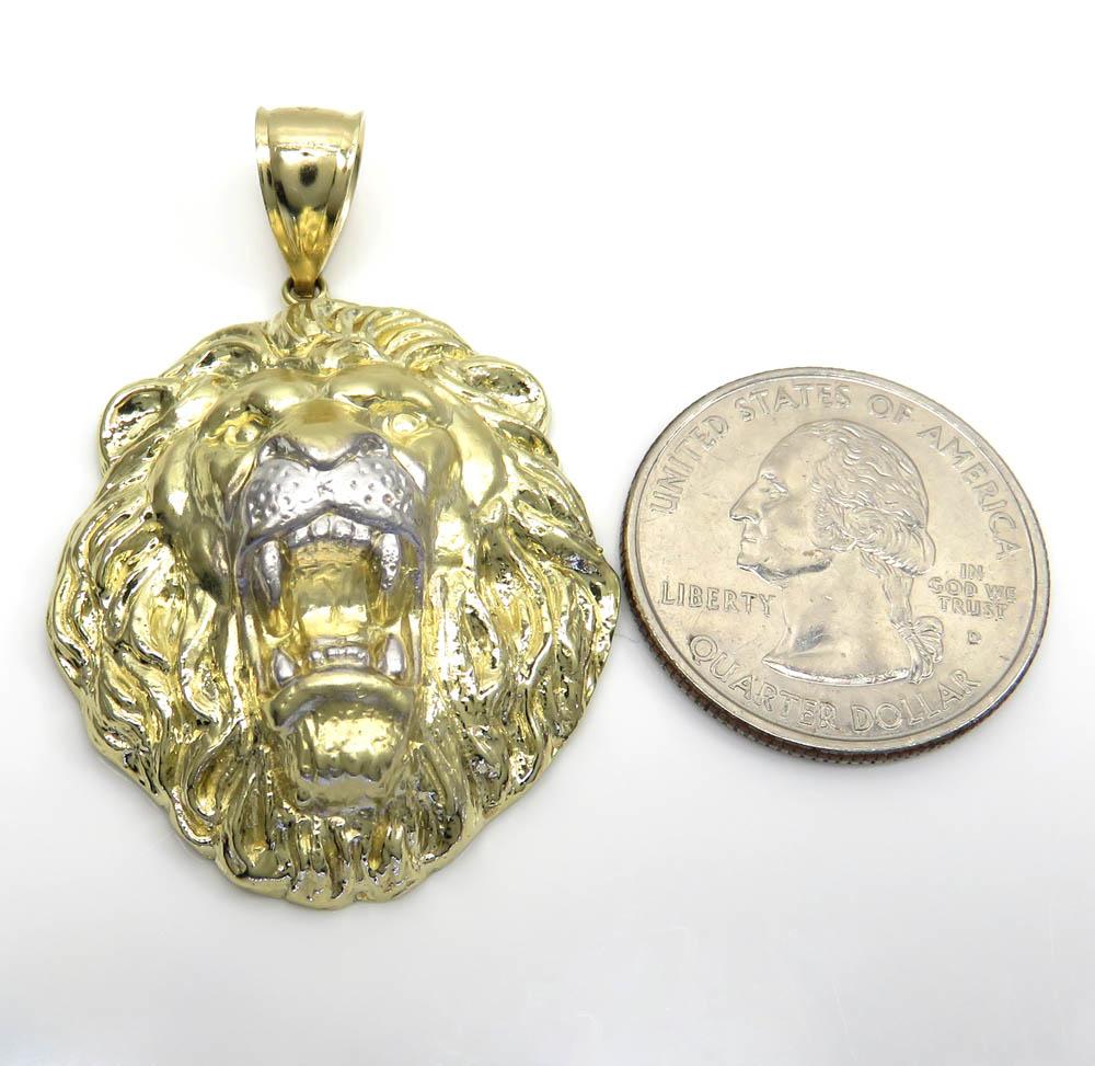 10k two tone gold solid large 3d lion head pendant