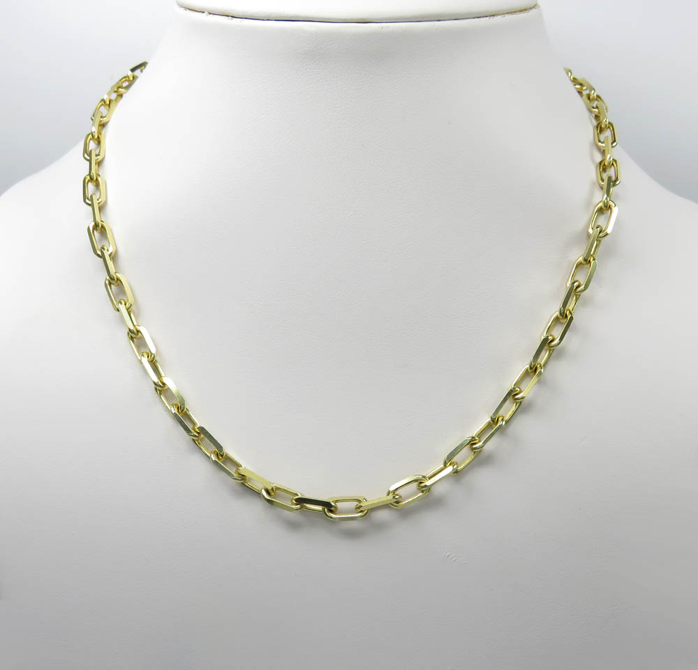 14k yellow gold solid cable link chain 30 inches 5.20mm