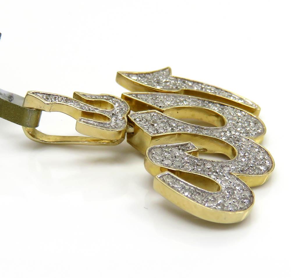 10k yellow gold medium diamond allah pendant 0.49ct