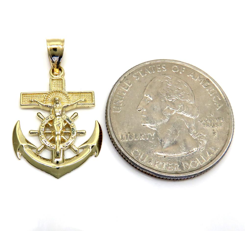 10k yellow gold mini anchor jesus pendant