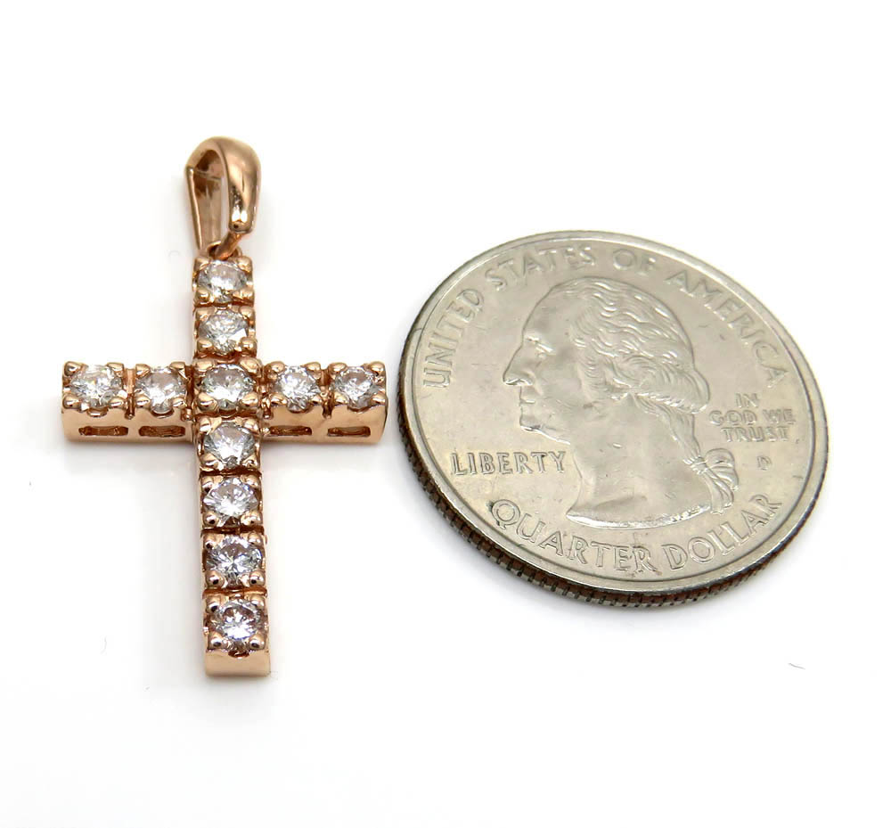 14k yellow white or rose gold 15 pointer diamond prong cross 1.65ct