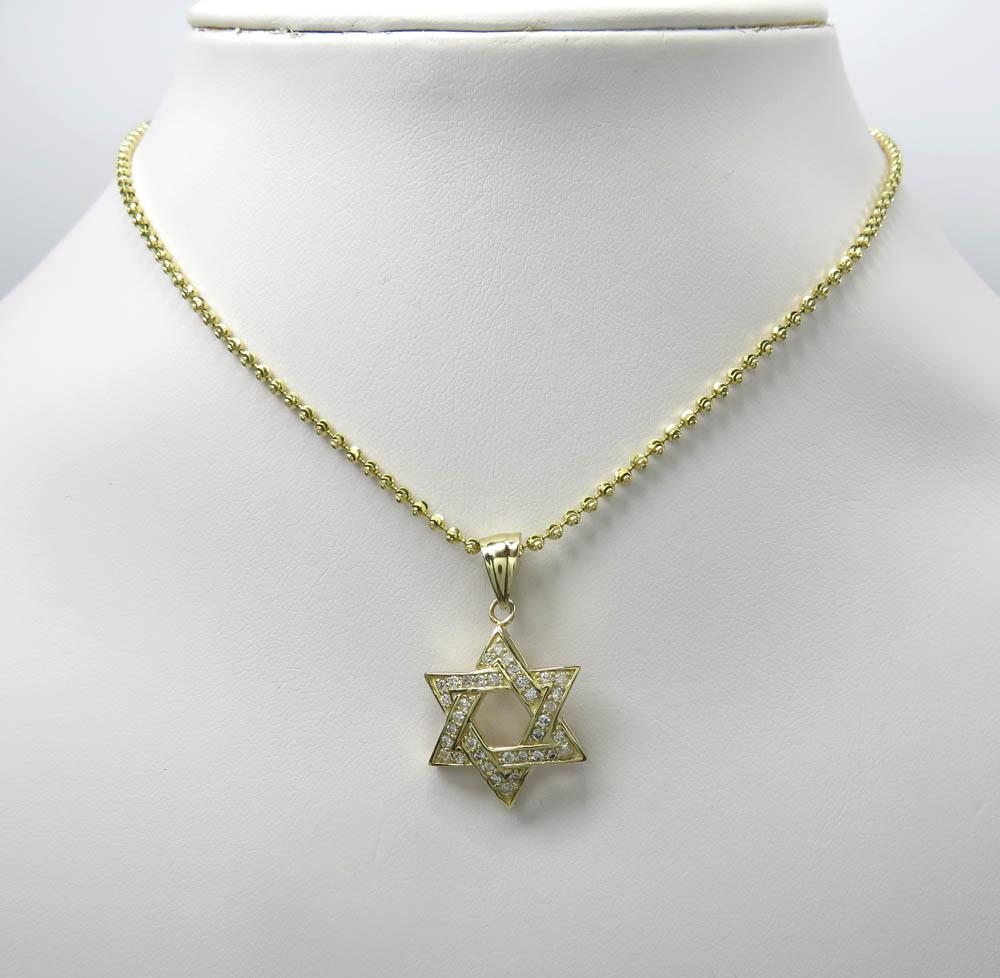 14k yellow or white gold diamond star of david pendant 0.50ct