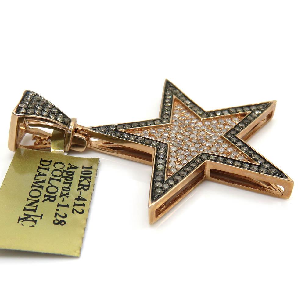 10k rose gold champagne & white diamond star pendant 1.28ct