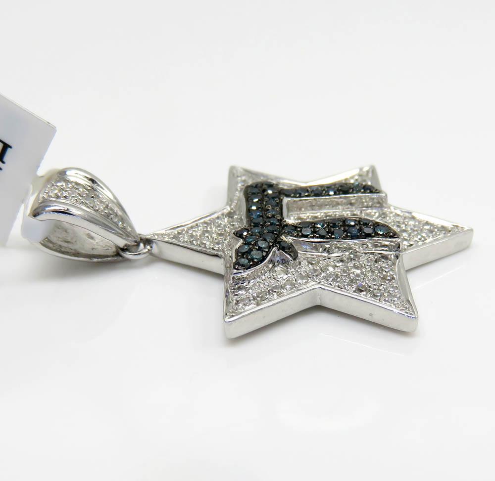 14k white gold blue diamond chai & diamond star of david pendant 0.65ct