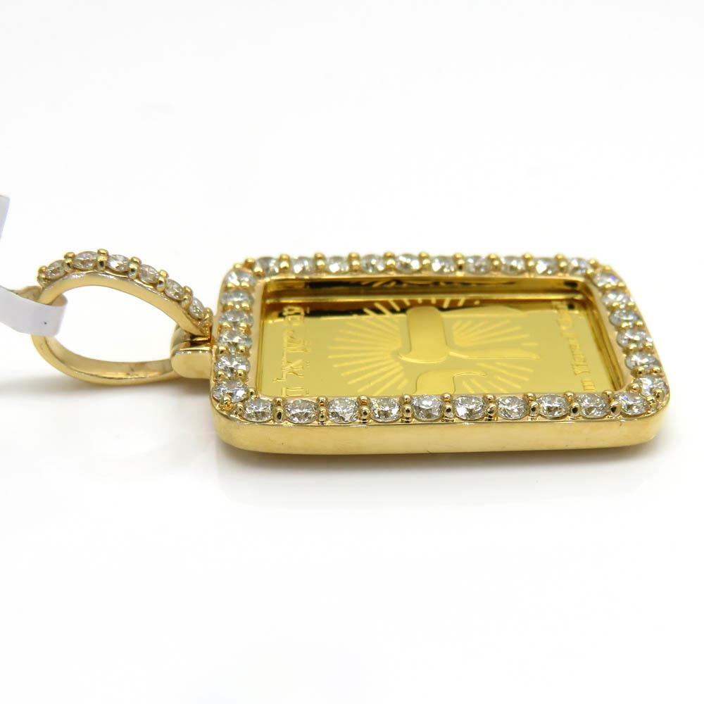 14k yellow gold diamond frame with 24k gold chai pendant 1.13ct