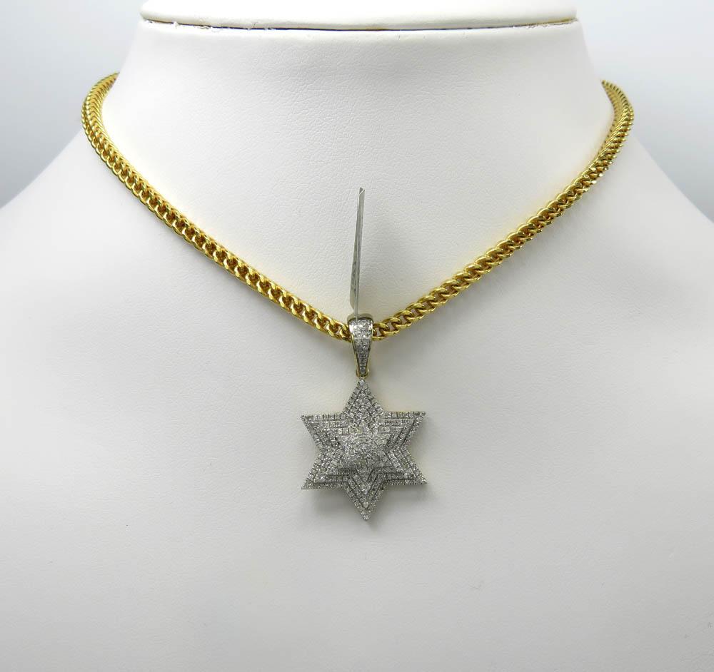 10k yellow gold tier diamond star of david pendant 0.65ct