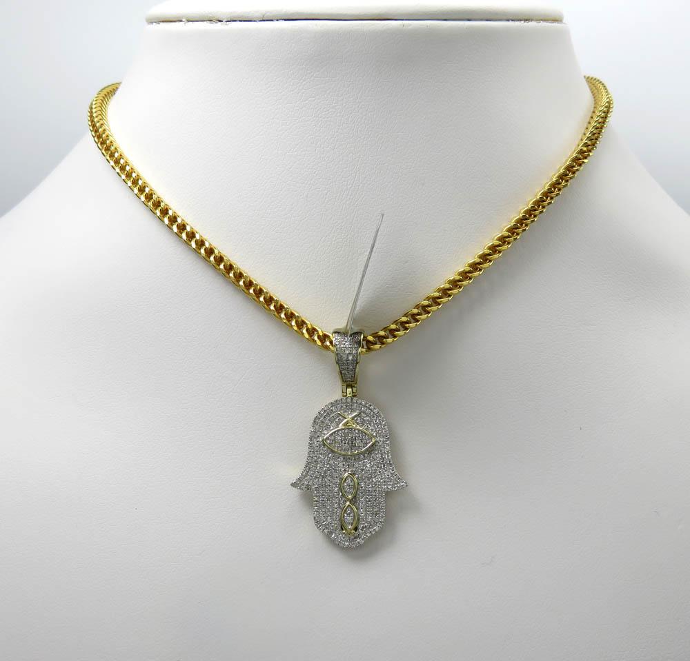 10k yellow gold diamond hieroglyphic hamsa pendant 0.52ct