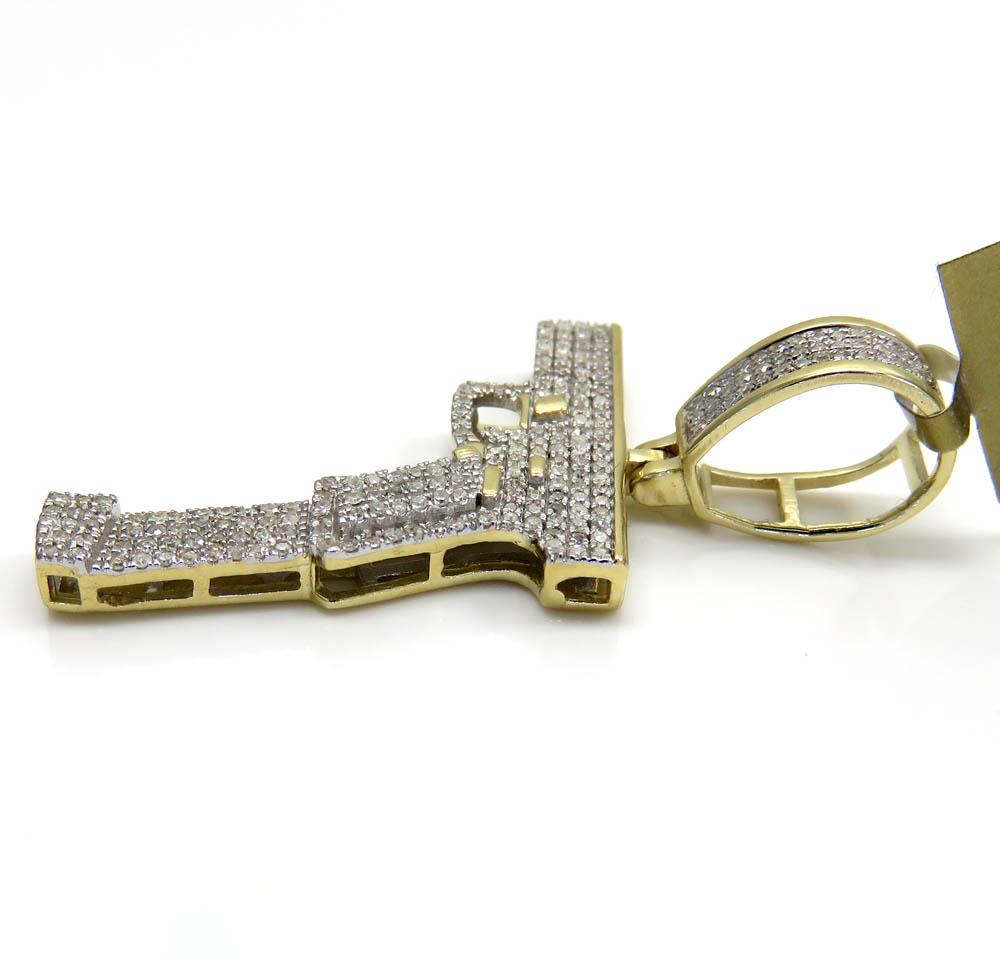 10k yellow gold diamond glock handgun pendant 0.46ct