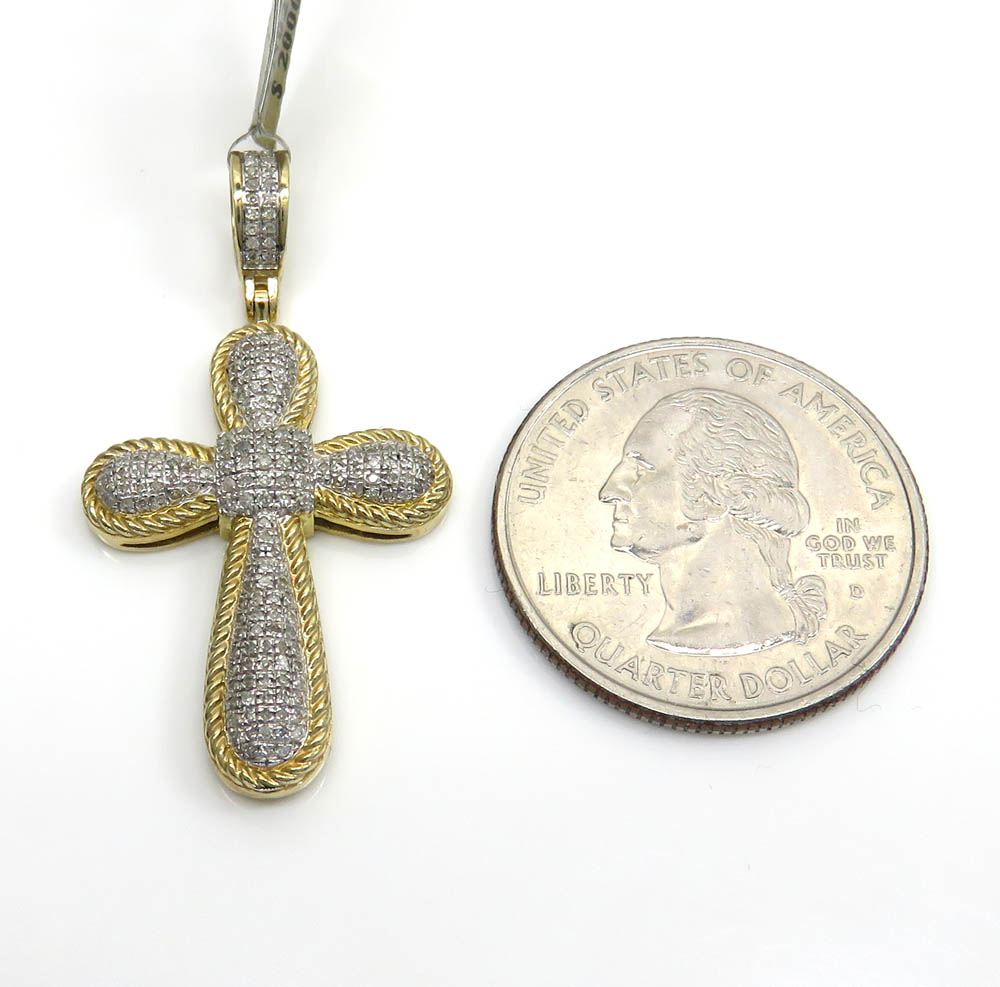10k two tone medium diamond bubble cross 0.32ct