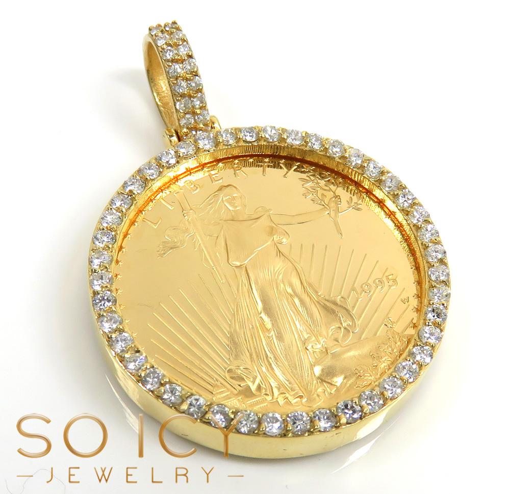 14k yellow gold large diamond liberty 1/2 oz coin pendant 1.15ct