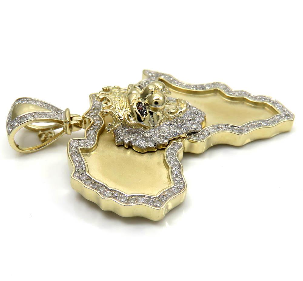 10k yellow gold large diamond africa lion king pendant 0.83ct