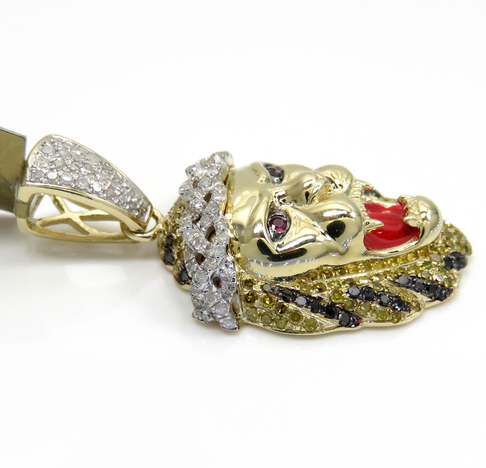 10k yellow gold large diamond lion enamel pendant 1.34ct