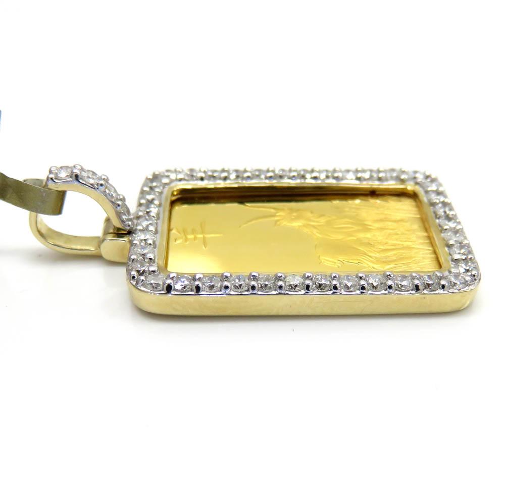 10k yellow gold large diamond goat suisse bar pendant 1.04ct
