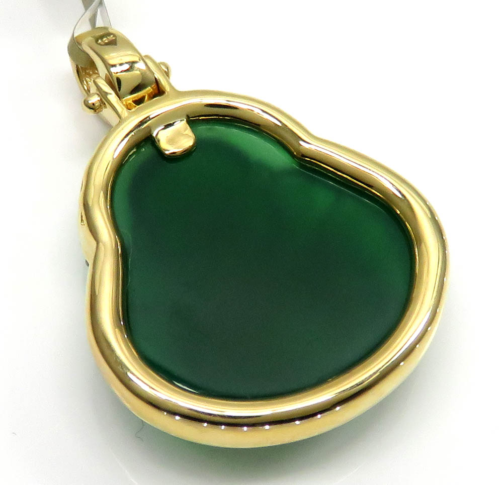 10k yellow gold large green jade fat buddha diamond pendant 0.60ct