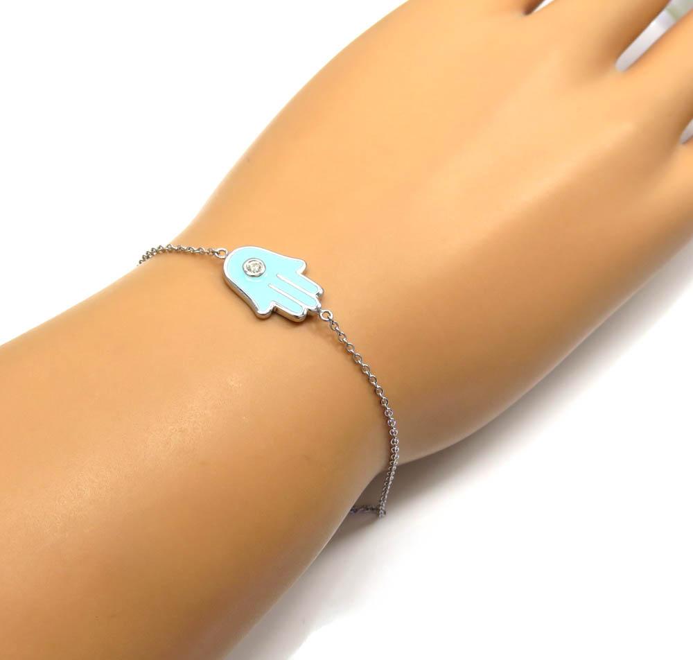 14k white gold turquoise enamel diamond hamsa bracelet 7 inches 0.03ct