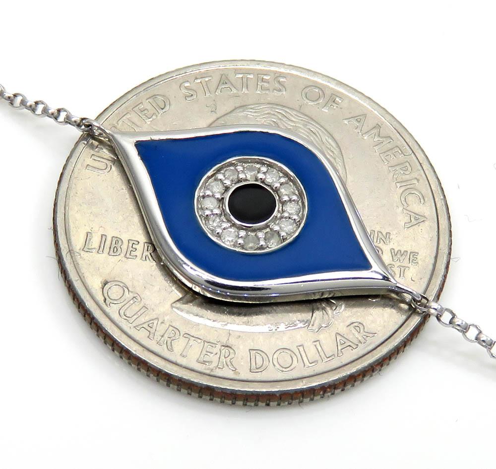 14k white gold blue enamel diamond evil eye bracelet 7 inches 0.07ct