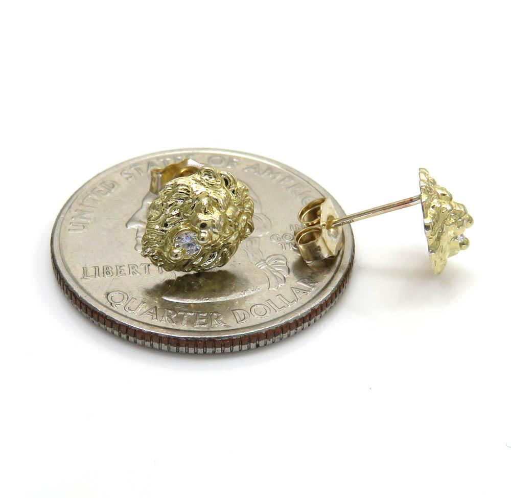 10k yellow gold mini cz lion earrings 0.10ct
