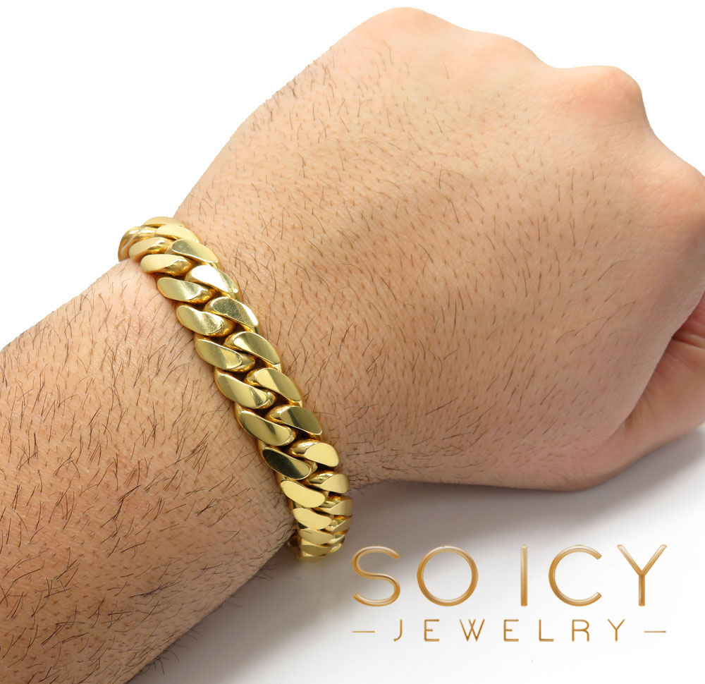 10k yellow gold solid thick miami bracelet 9 inch 13mm