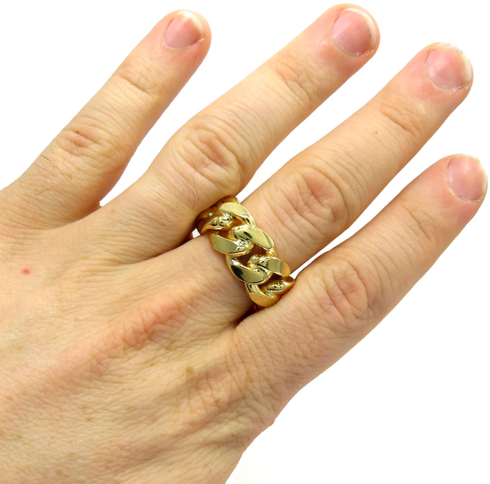 10k yellow gold thick 11.50mm solid cuban link ring