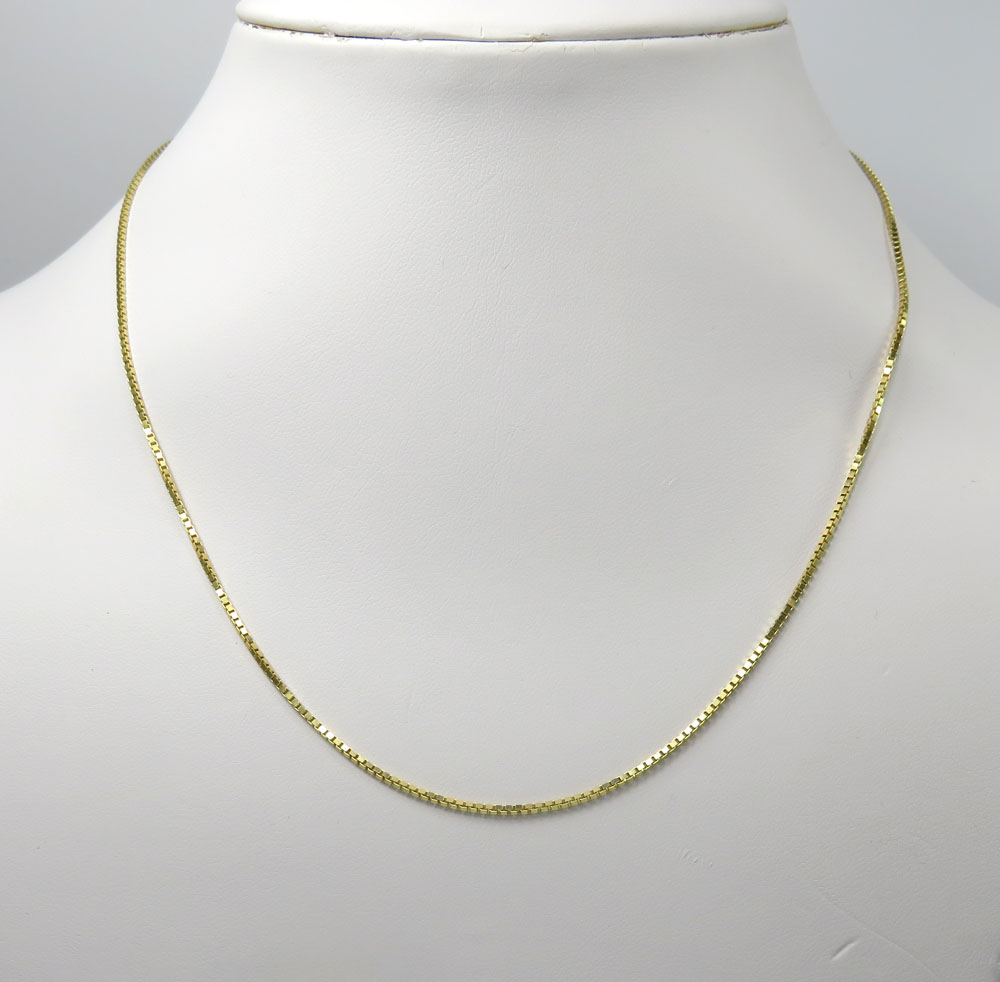 14k yellow gold skinny solid box link chain 18-22 inch 1.1mm
