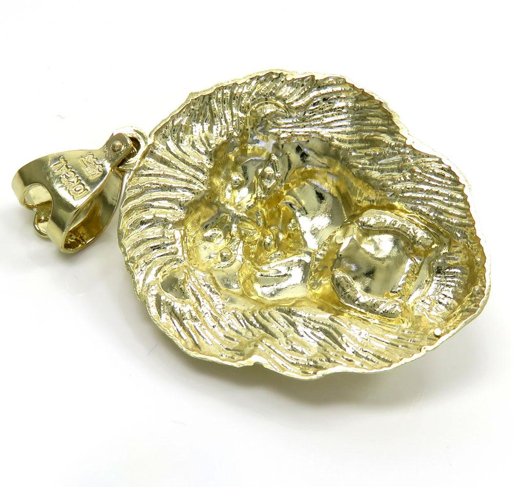 10k yellow gold solid medium 3d lion head pendant