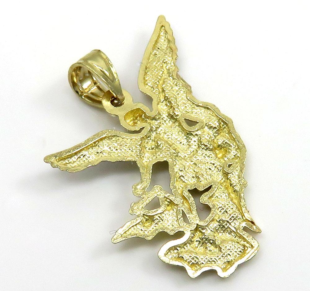 10k two tone gold mini angel vs demon pendant