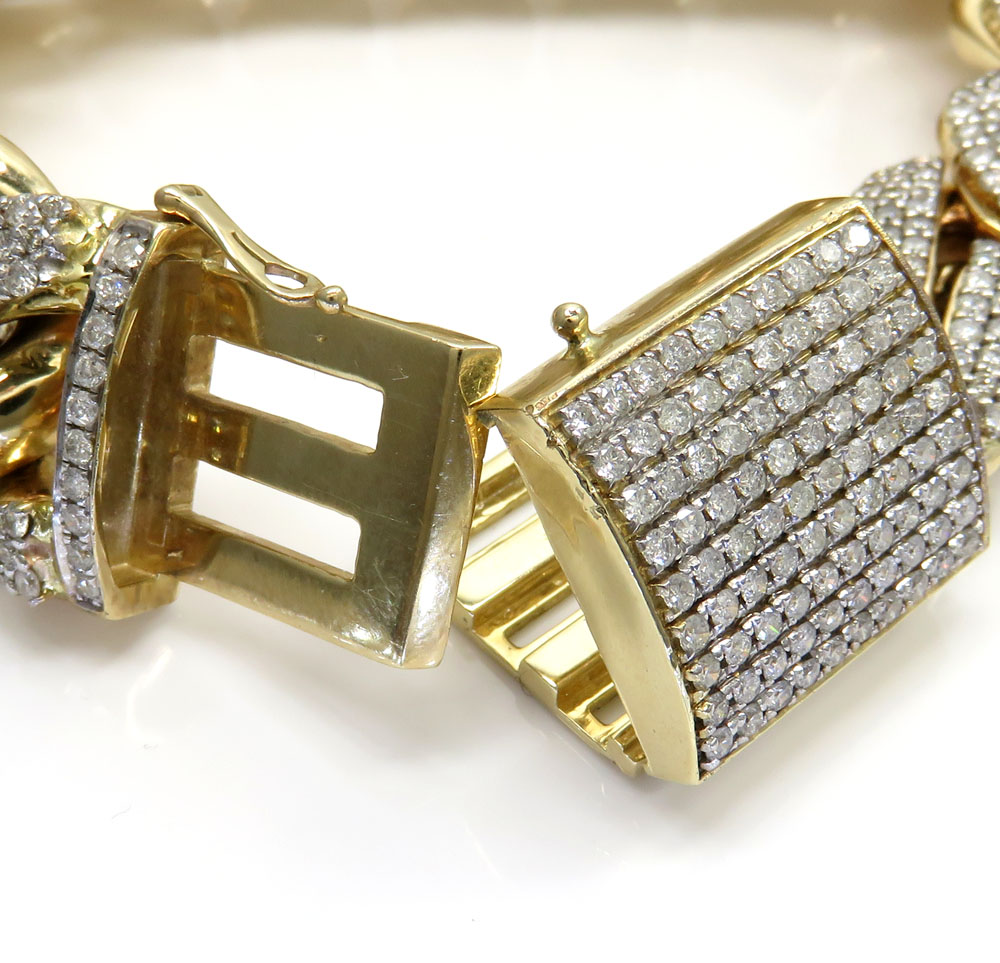 10k solid yellow gold xl diamond miami bracelet 9 inches 19mm 13.50ct