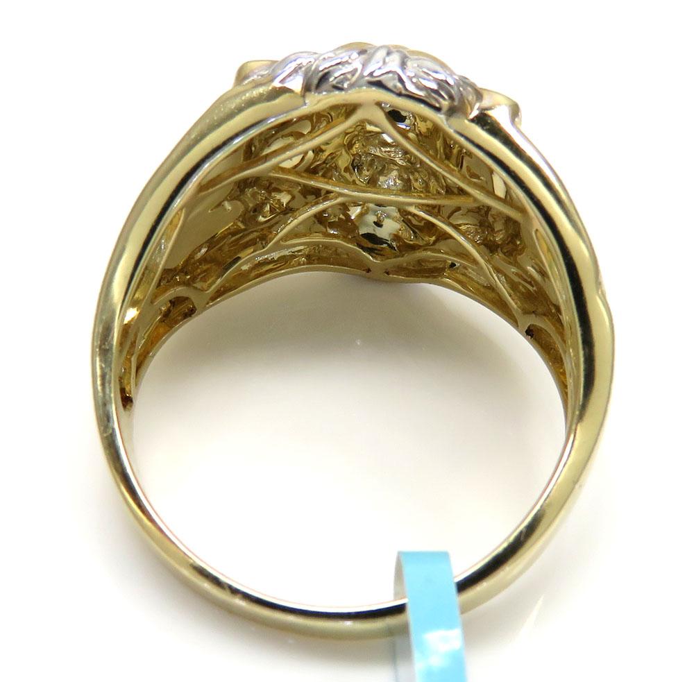 10k two tone gold diamond lion ring 0.23ct