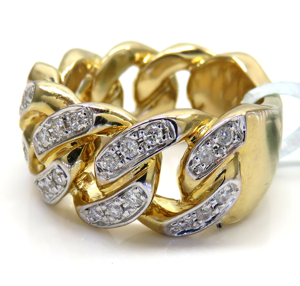 10k yellow gold solid diamond cuban ring 0.89ct