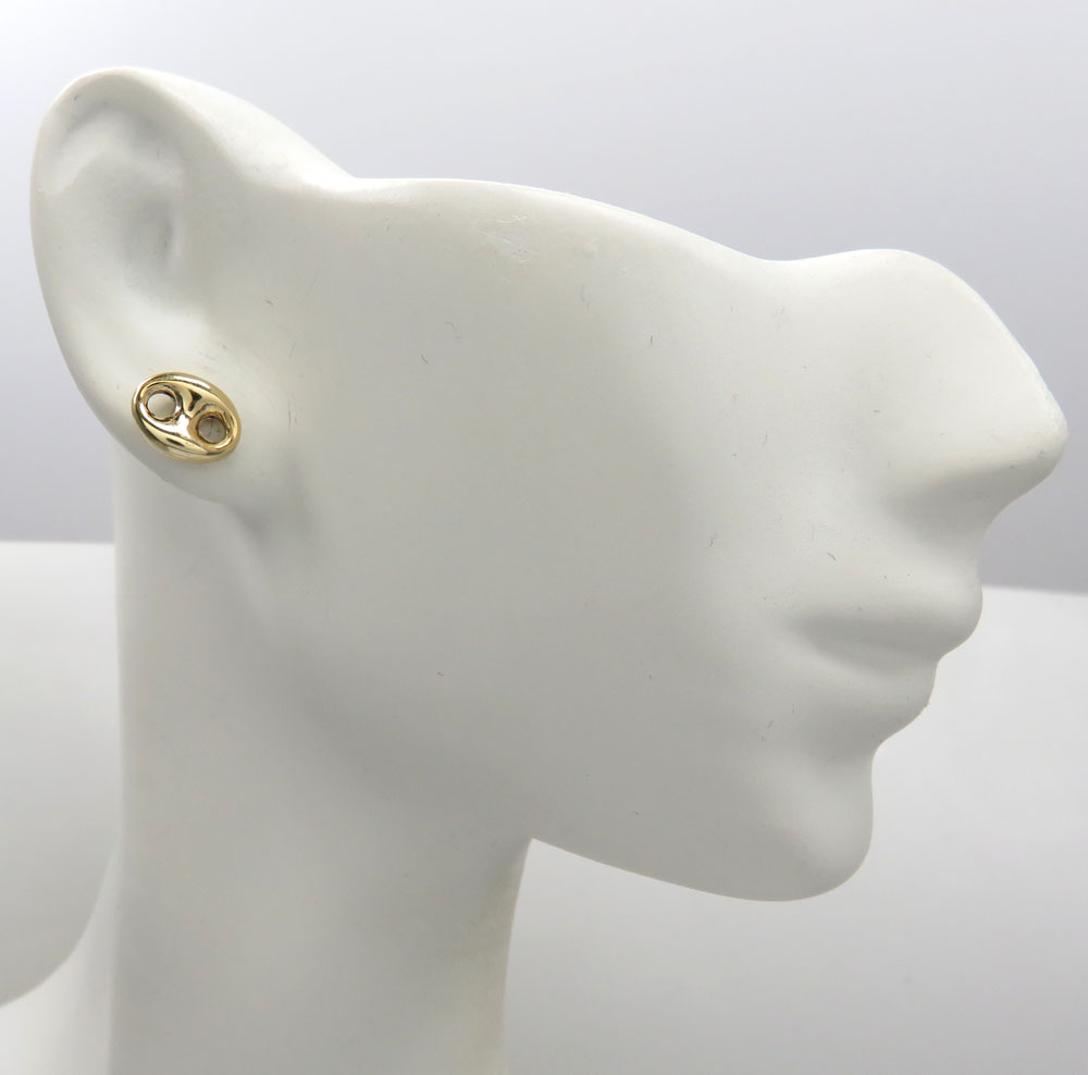 14k yellow gold small 8mm puffed gucci hollow earrings