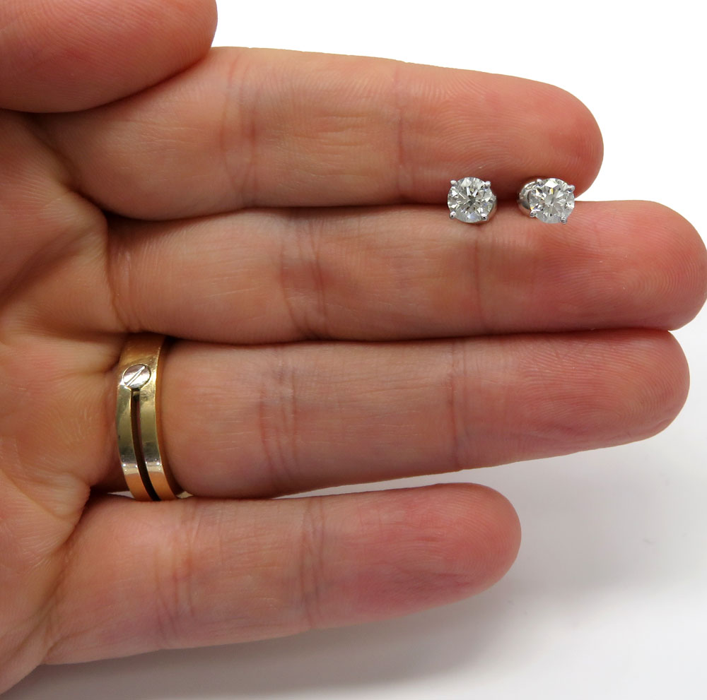 14k white gold vs2 round cut diamond studs earrings 1.00ct