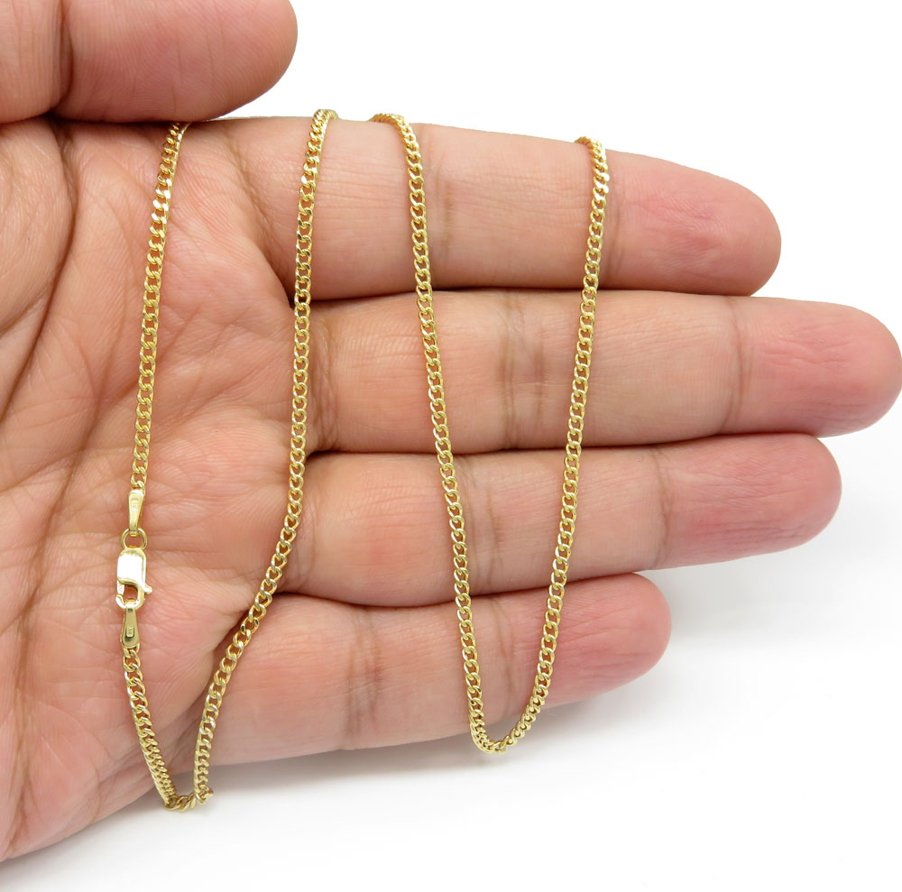 10k yellow gold hollow miami cuban chain 20 inch 2.20mm
