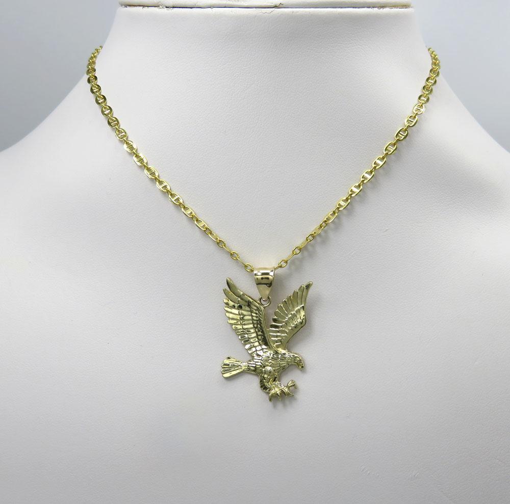 10k yellow gold small diamond cut flying eagle pendant