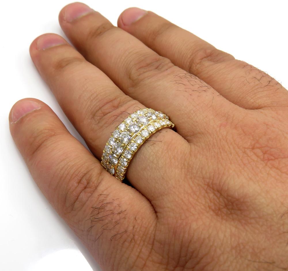 14k solid yellow gold three row diamond half iced 10mm band 4.24ct