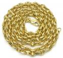 10k yellow gold hollow puffed mariner chain 22-24 inch 4mm