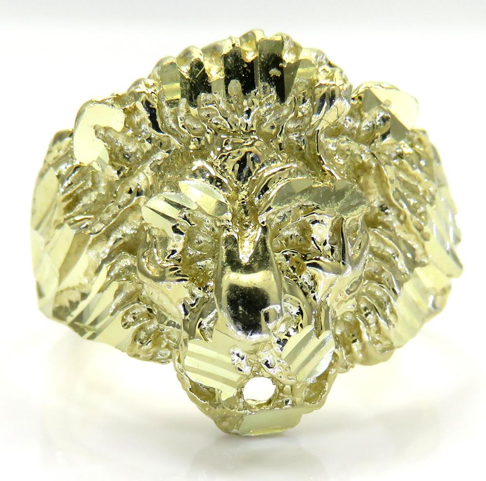 10k yellow gold diamond cut lion face ring
