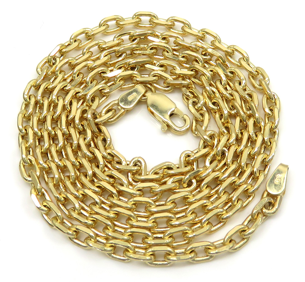 10k yellow gold hollow cable link chain 24 inches 3.5mm