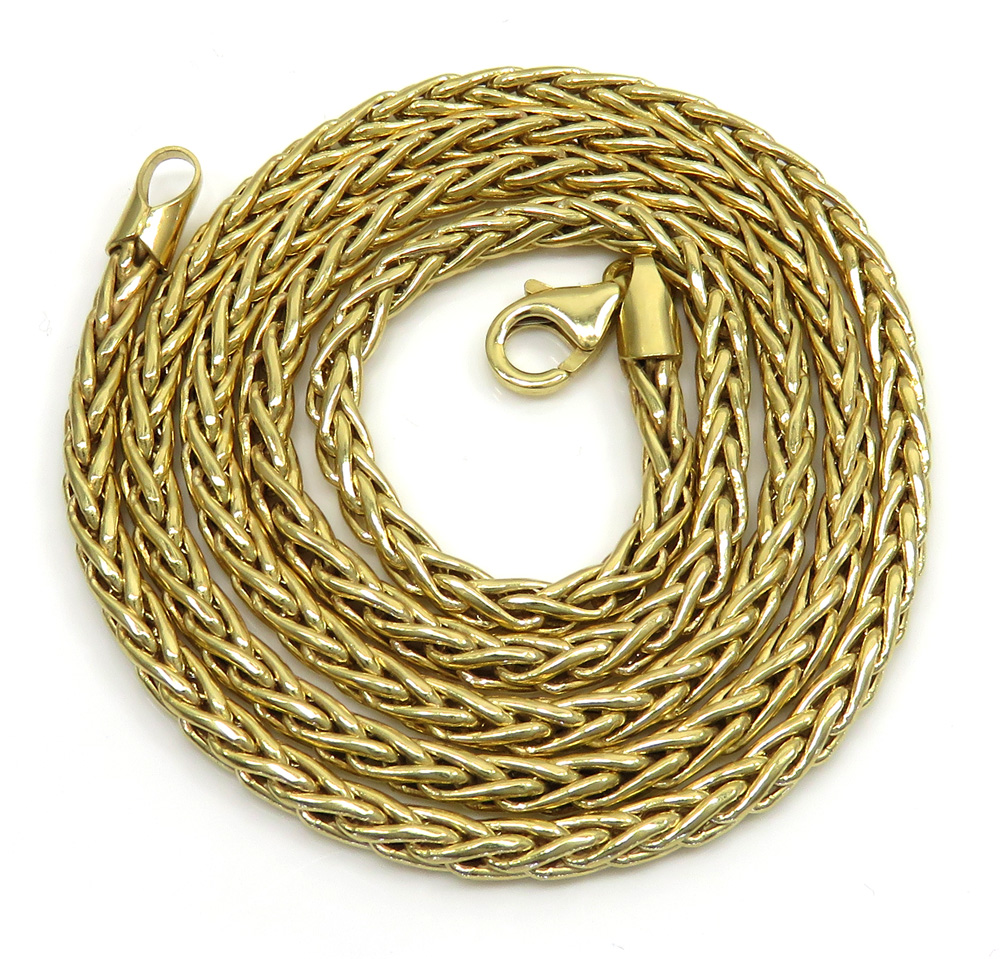 10k yellow gold semi hollow wheat chain 22 inch 3.20mm