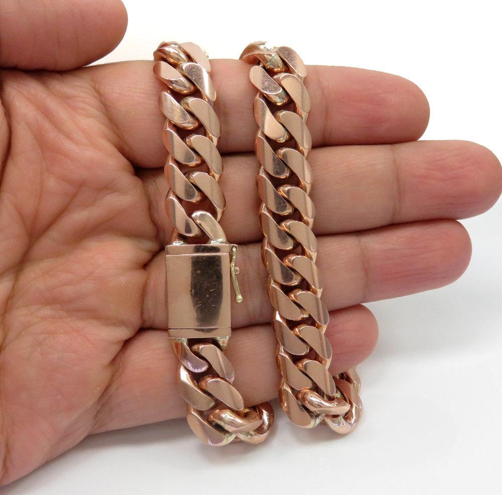 14k Rose Gold Solid Miami Link Chain 21 Inch 12 50mm