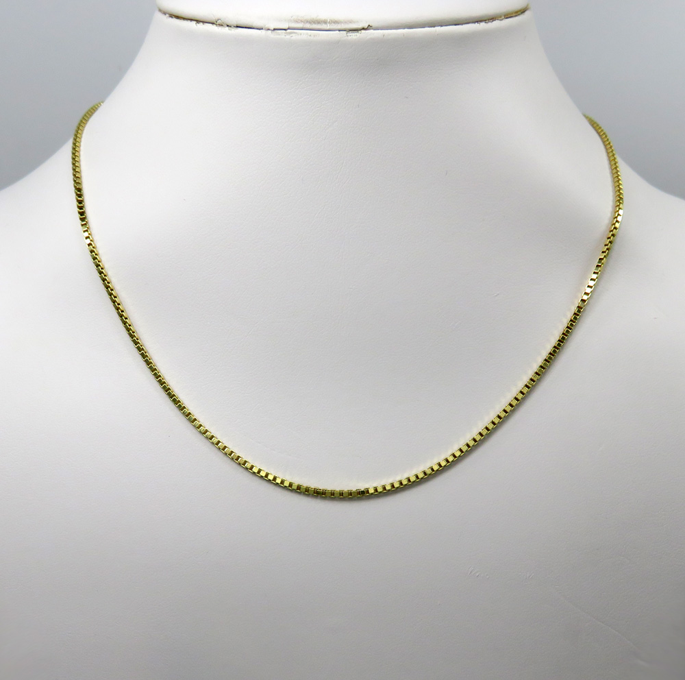 10k yellow gold semi hollow box link chain 20-24 inches 1.80mm
