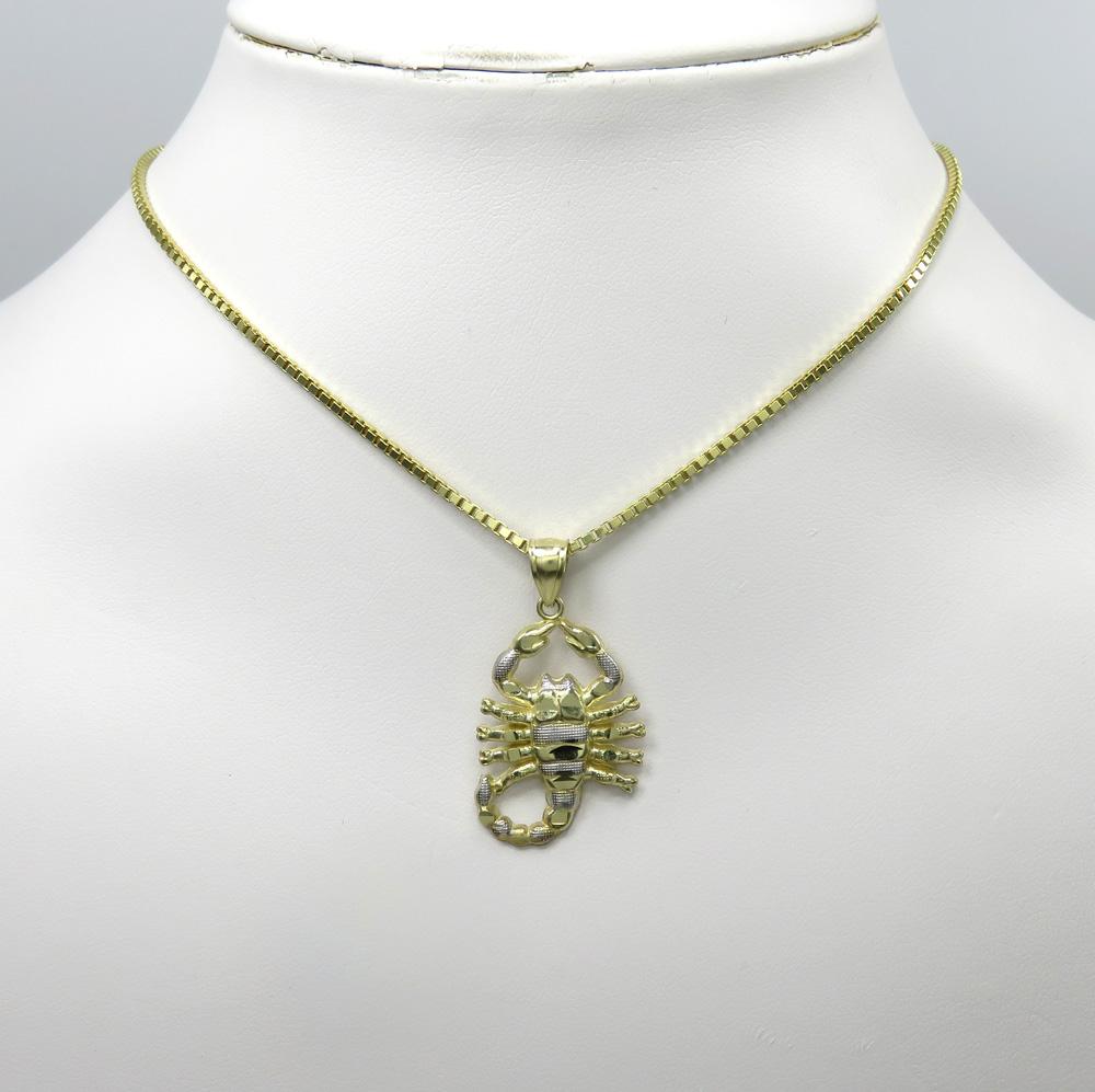 10k two tone yellow gold small scorpion pendant