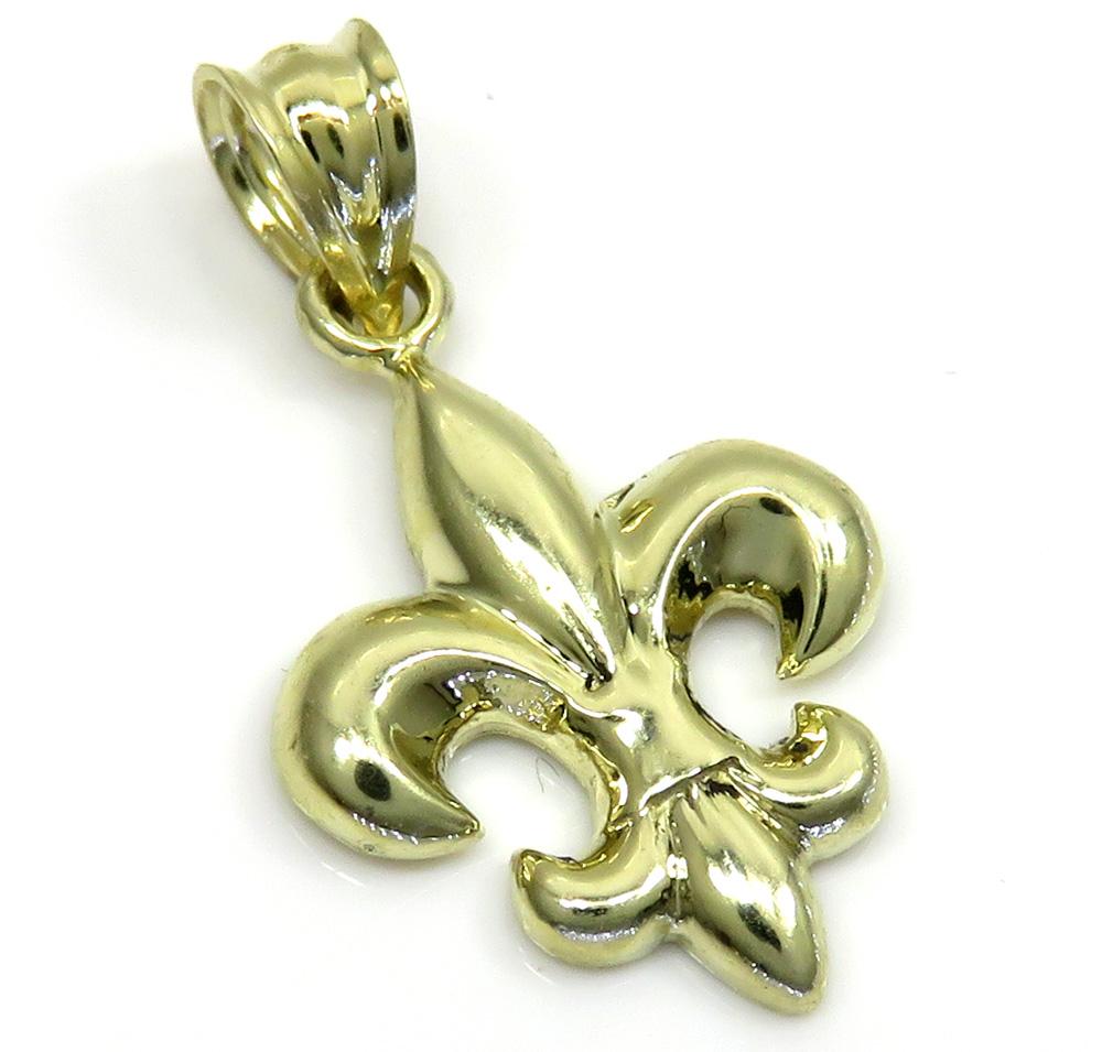 10k yellow gold mini fleur de lis symbol charm