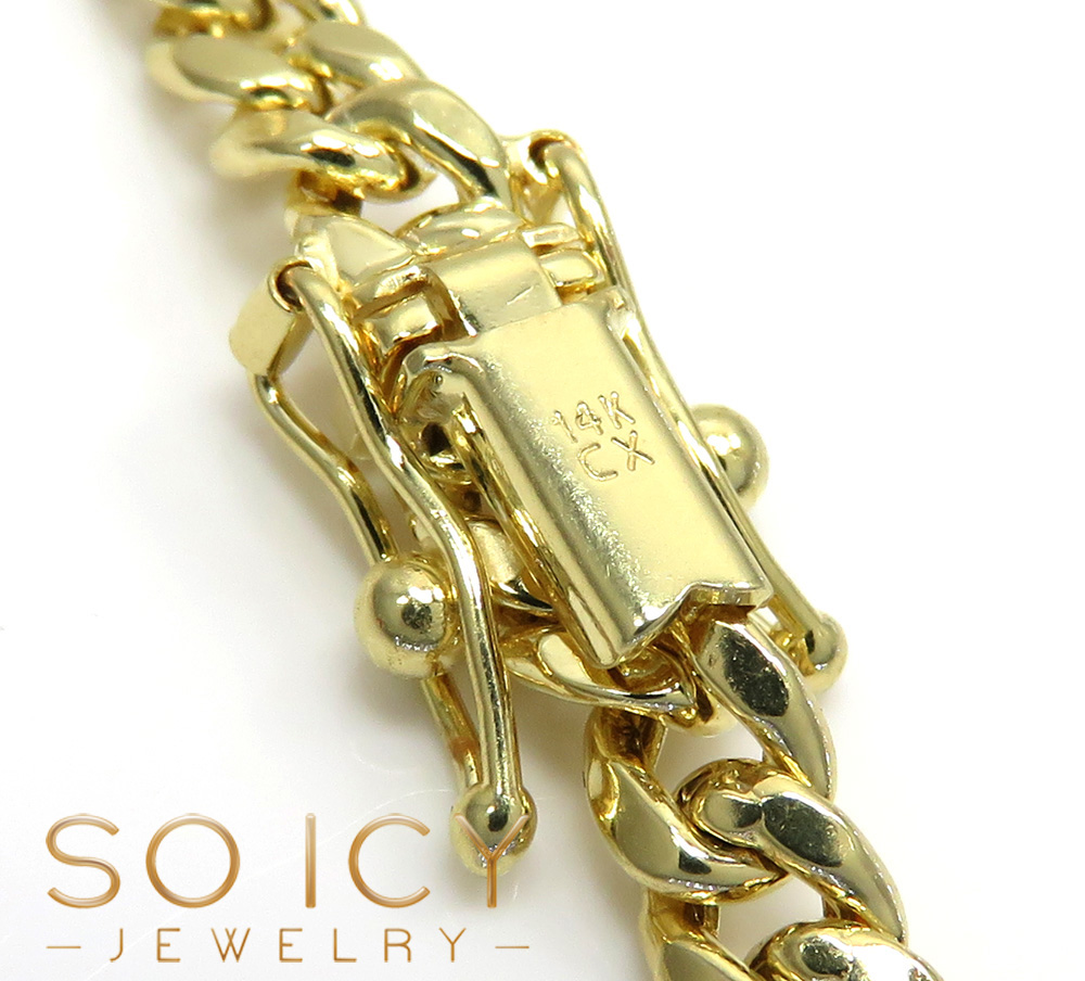 14k yellow gold hollow miami cuban link chain 20-24